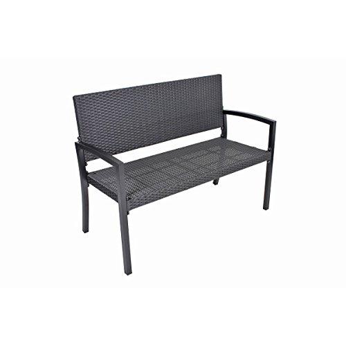 VARILANDO Gartenbank Parkbank Sitzbank 2-Sitzer aus Kunststoffgeflecht und Aluminium in schwarz