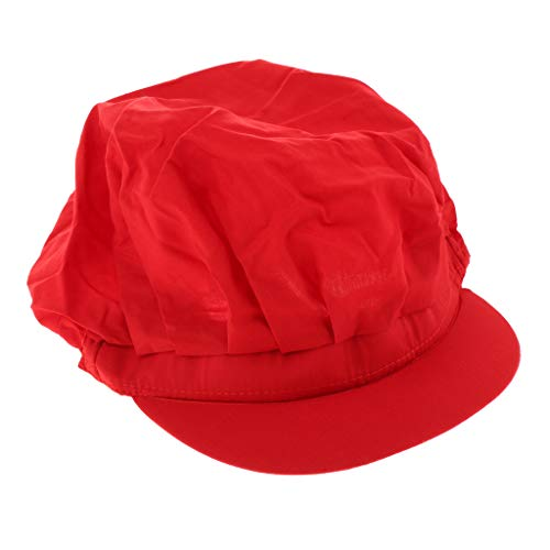 Milageto Unisex Mesh / Cotton Industrial Workshop Schutzarbeitsküchenhüte Kappe - Rot, A