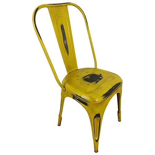 Retro Bistrostuhl aus Metall stapelbar - Esszimmerstuhl im Vintage Design gelb - Stapelstuhl mit Industrie Look für Esszimmer, Küche, Balkon - Stabiler Küchenstuhl Used-Look - Metallstuhl mit Lehne