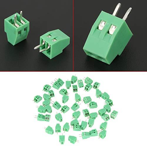 Conector de bloque de terminales, 50 piezas/juego, 2 pines y 2,54 mm, conector de bloque de terminales de tornillo PCB verde de paso, para baja frecuencia, y se utiliza en cableado de PCB