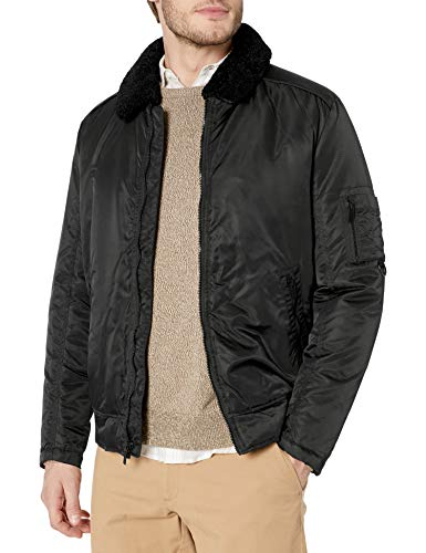 Kenneth Cole New York Men's Aviator Jacket with Removable Faux Sherpa Collar, Black, Medium