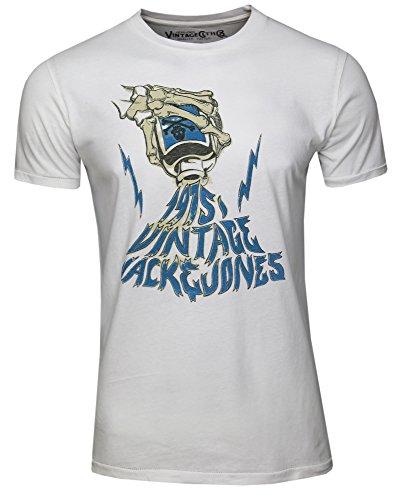 Jack & Jones Vintage Jjvcpunk Tee SS Crew Neck T-Shirt, Blanc (Cloud Dancer), Large (Taille Fabricant: L) Homme