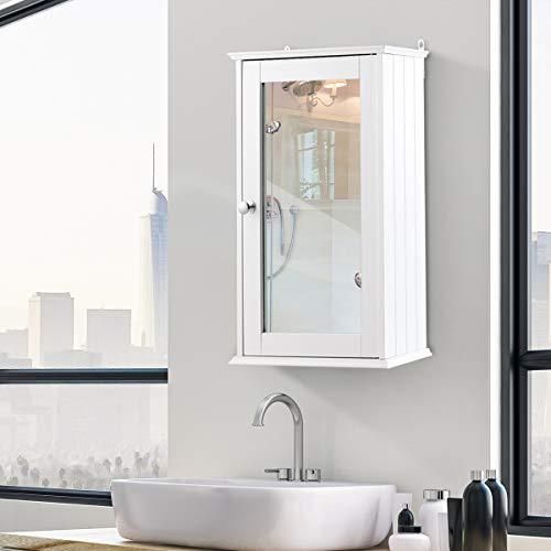 DREAMADE Spiegelschrank Bad, eintüriger Hängeschrank mit Spiegel, Holz Badspiegelschrank mit 2 Ablagen, ideal für Badezimmer, Schlafzimmer und Flur, 34x15x53 cm, weiß 2