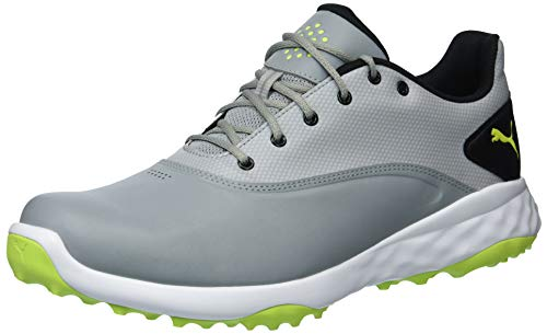 PUMA Golf Men's Grip Fusion Golf Shoe, Quarry/Acid Lime/Black, 10.5 Medium US
