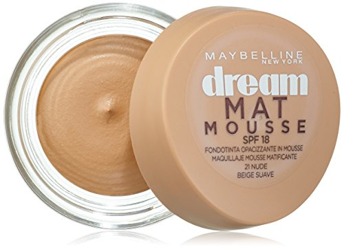 Maybelline New York Dream Mat Mousse Fondotinta Opacizzante in Mousse, 21 Nude