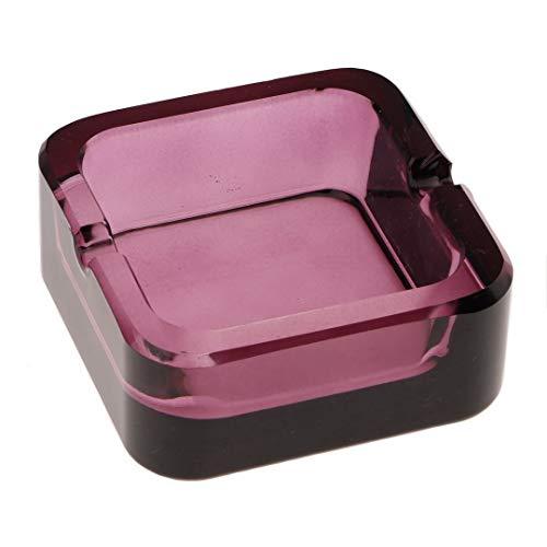 Kepfire Europeo Cristal Vaso Cuadrado Cenicero Sencillo Regalo Hogar Oficina Bar Al Aire Libre Restaurante Adorno Personalidad Portátil Púrpura Cenicero