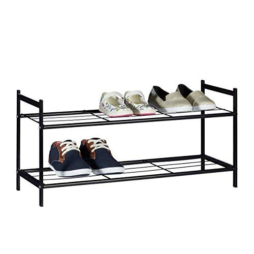 Relaxdays Schuhregal SANDRA mit 2 Ebenen, kleine Schuhablage aus Metall, HBT: ca. 33,5 x 69,5 x 26 cm, für 6 Paar Schuhe, mit Griffen, schwarz
