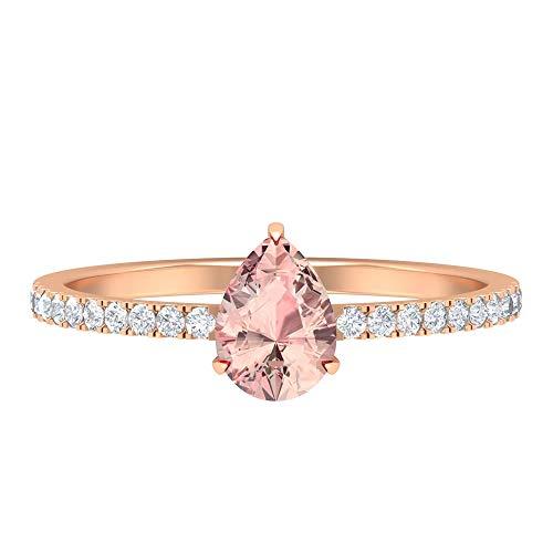 1 CT Lab Erstellt Morganit Ring, HI-SI Diamant-Verlobungsring, 5x7 mm Birnenschliff, Verlobungsring in Tropfenform, Seitenring, 14K Roségold, Size:EU 67