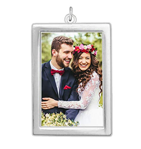 Wedding Bouquet Photo Charm Silver Plated Rectangle Double Sided 1 1/4