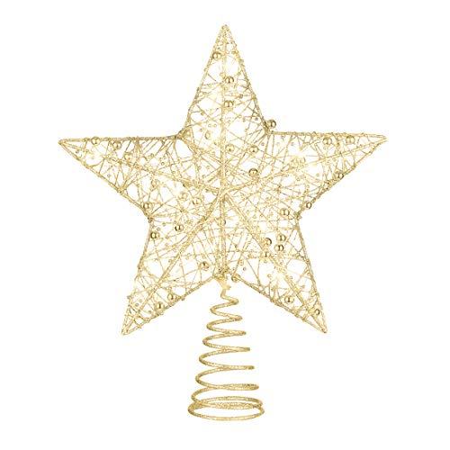 Tomaibaby Weihnachtsbaum Topper Stern Metall Heilig Design Stern Baum Topper Glitzerte Weihnachten Baumkrone Stern (Golden)