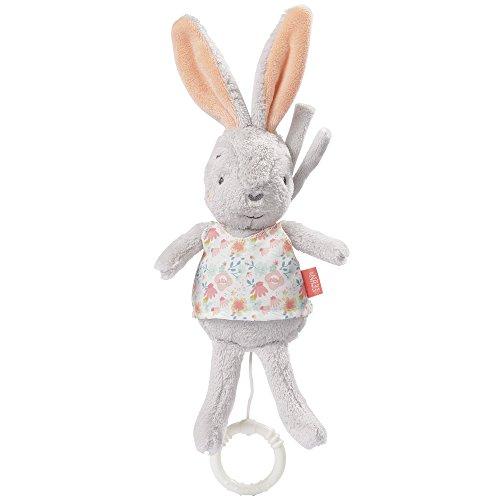 Fehn 062014 Mini-Spieluhr Hase | Kuscheltier mit integriertem Spielwerk mit sanfter Melodie zum Aufhängen an Kinderwagen, Babyschale oder Bett | Für Babys und Kleinkinder ab 0+ Monaten