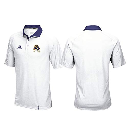 adidas East Carolina Pirates NCAA Men's Sideline Climachill Performance White Polo Shirt (L)