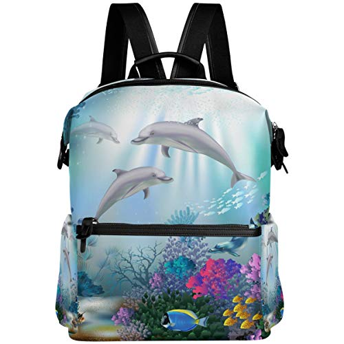 Oarencol Dolphins Animal Fish Mochila Underwater World School Book Bag Viaje Senderismo Camping Portátil Daypack