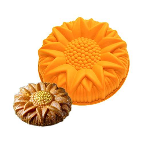 FantasyDay Premium Antiadherente Moldes para Tartas, Moldes de Silicona para Caramelos, Chocolate, Hornear, Tarta, Galletas, Jabón, Hielo - Antiadherente Apto para Lavavajillas Y Microondas - Girasol