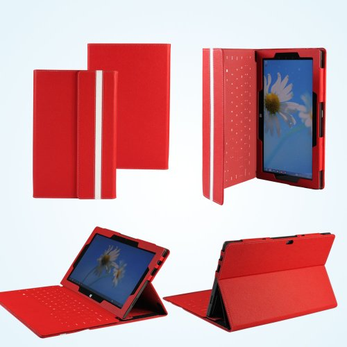 Navitech Schutzhülle aus Kunstleder für Microsoft Surface Pro 64GB/ 128GB Windows8 (Nicht geeignet für Surface RT) rot rot