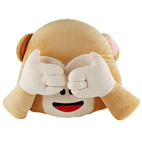Nunubee Kreativ Emoji Affe-Form zierkissen mit Füllung Mehrfachausdruck Optional Kinderspielzeug Spielzeug deko Kissen Wohnzimmer Sofa Office Dekorative, Schau Nicht auf 1 35 * 33 * 10cm