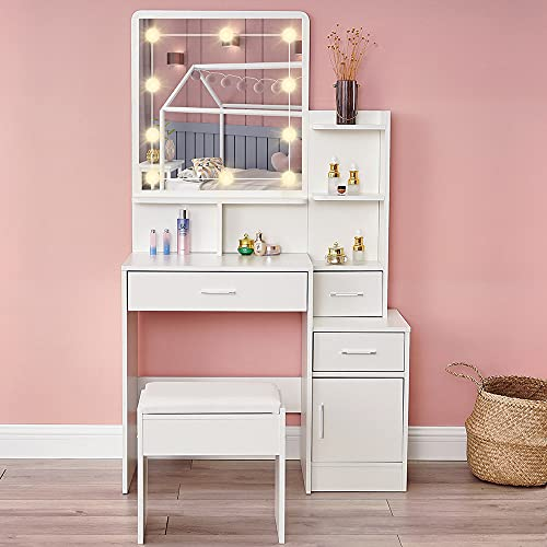 Vanity Table Set with 10 Light Bulbs, Makeup Table with 3 Drawer & 1 Storage Cabinet, Dressing Vanity Tablewith Lighted Mirror, Dresser Desk with Cushioned Stool for Bedroom, Bathroom, White