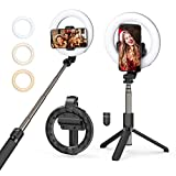 Selfie Ring Light with Tripod Stand and Phone Holder, Mpow LED Ring Light Rechargeable Dimmable Selfie Stick for Makeup, Live Streaming, Shooting, YouTube Video,Vlogs Compatible with iPhone/Android