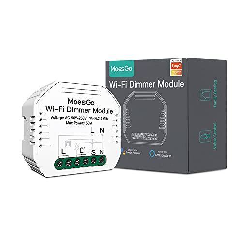 MoesGo WiFi Interruptor Luz con Dimmer Inteligente Inalambrico Módulo Alexa Control Remoto y Rele para conmutador de 1 Gang y 1/2 Way, compatible con la app Smart Life/Tuya Alexa/Google Home
