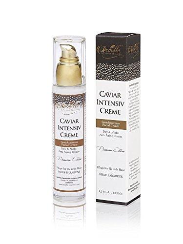 Develle Caviar Intensiv Creme 50 ml. Glas Pumpspender I Kaviar SOFORT-FACELIFT PFLEGEKONZENTRAT-CREME I Feuchtigkeitspflege Konzentrat-Creme für die reifere Haut I MADE IN GERMANY