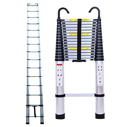 6.2M Alu Teleskopleiter Mit Leiter-Dachhaken-Kit, Ausziehbare Leiter, Klappleiter Stehleiter Rutschfester, Ausziehleiter Mehrzweckleiter, Haushaltsleiter 150 kg Belastbarkeit Mit EN131 Zertifiziert