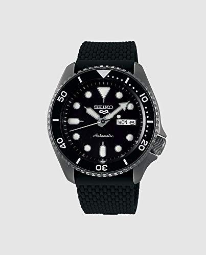 Seiko Herren Analog Automatik Uhr mit Silikon Armband SRPD65K2