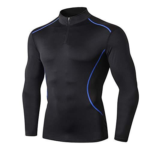 Shengwan Camiseta Compresion Hombre Manga Larga Cuello Alto Secado Rápido Camisa Deportiva Base Layers para Running Gym Ciclismo Azul Negro L