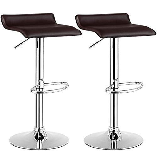 COSTWAY Bar Stool, Swivel Adjustable Contemporary Stools, Modern Design Chrome Hydraulic PU Leather Backless Barstools (Brown, Set of 2)