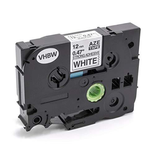 vhbw Schriftband Kassette 12mm schwarz auf weiß extra stark passend für Etiketten-Drucker Brother P-Touch H105NB, H105WB, H105WN, H107B, H110, H200