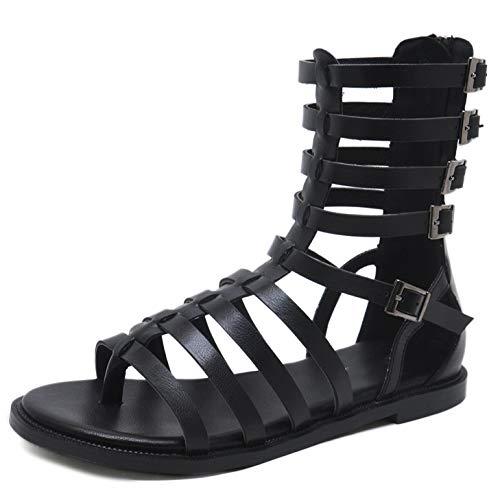 2021 - Sandalias planas romanas con cremallera trasera para mujer, estilo casual, puntera abierta, color negro, 37