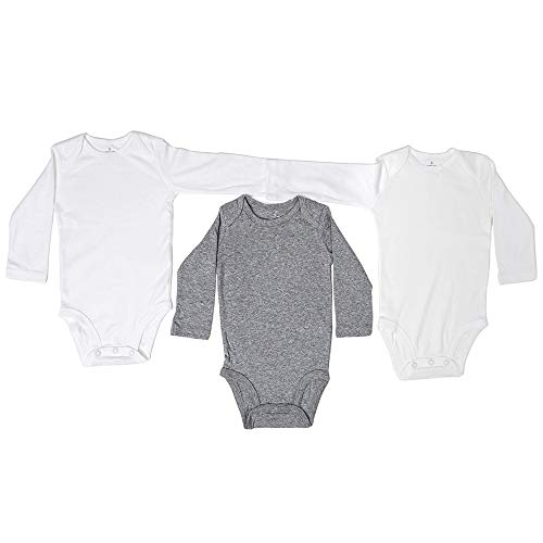 VIC & VAL Body para bebés, Pack de 3, 100% algodón Manga Larga (18 Meses)