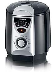 SEVERIN FR 2408 2-in-1 mini-friteuse, friteuse/fondue (840 W, incl. 6 fondue-vorken, 200 g frituurhoeveelheid) zilver/zwart