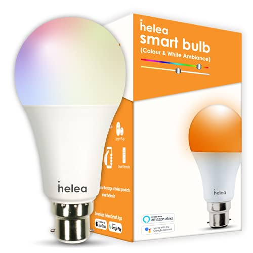 Helea 12W Wi-Fi Smart Bulb (B22),16 million Colours + Warm White/Neutral White/White, Compatible with Alexa & Google Assistant