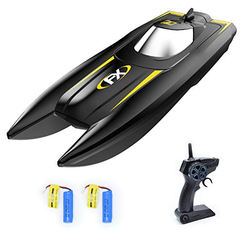 VOLANTEXRC RC Boat Remote Control Boat for Pool and Lake, 2.4Ghz Electric RC Toy Boat for Kids with 2 Batteries, Water Sensing and Improved Waterproof Design, Great Gift for Boys or Girls (Black)