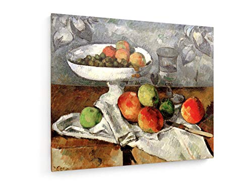 weewado Paul Cezanne - Stillleben mit Obstschale 60x50 cm Textil-Leinwandbild auf Keilrahmen - Wand-Bild - Kunst, Gemälde, Foto, Bild auf Leinwand - Alte Meister/Museum