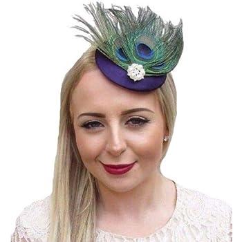 Black Green Peacock Feather Pillbox Hat Fascinator Hair Clip Races Vintage 3365