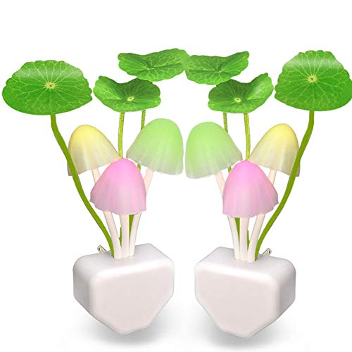[2 Pack] UTLK Plug in LED Mushroom Night Light Lamp with Dusk to Dawn Sensor, Cut Color Changing Bed Nightlight LED Wall Light