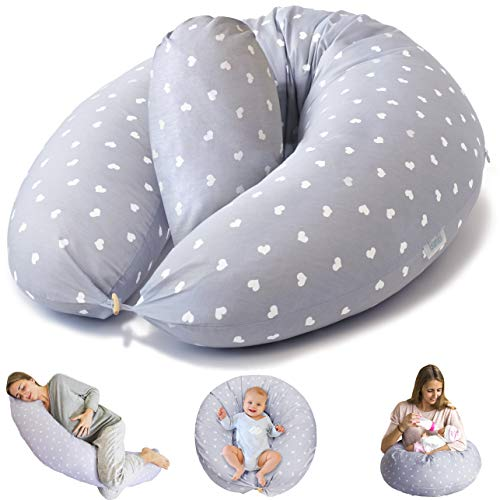 Bamibi Nursing Pillow and Positioner - Multi-Use Breastfeeding Pillow for Baby and Body Pillow for Pregnancy with Machine Washable 100% Cotton Cover - Bonus Head Positioner Cushion (Gray - Hearts)
