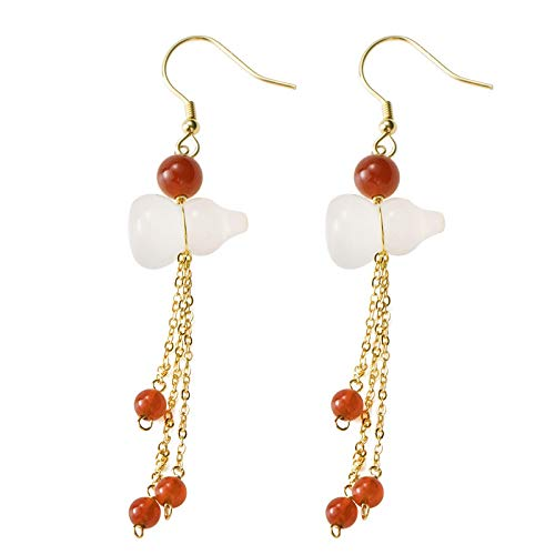 S925 / 925 Sterling Silver Gold-Plated Gemstone Crystal Earrings, High-End Elegant Ladies Jade Earrings, Perfect Holiday Gifts For Ladies, Low Strain And Nickel-Free Pendant Earrings 10