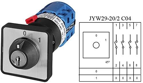 Schlüsselschalter, Drehschalter, Nockenschalter, Hauptschalter, 5 Modelle zum Auswählen (JYW29-20/2 C04 Schalter)