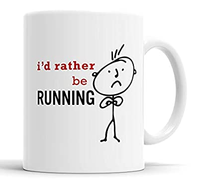 Faithful Prints Mens I'd Rather Be Running Mug Novelty Hobby Dad Brother Uncle Grandad Friend Funny Humour Gift Cup Birthday Christmas, Ceramic Mugs