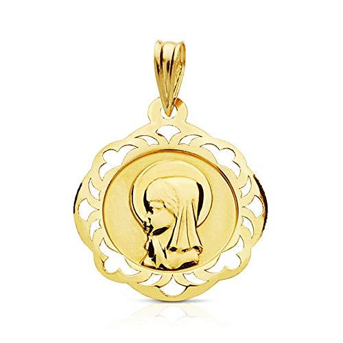 Colgante Oro 9K Medalla 18mm. Virgen Niña Liso Cerco Formas Calado - Personalizable - Grabación Incluida En El Precio