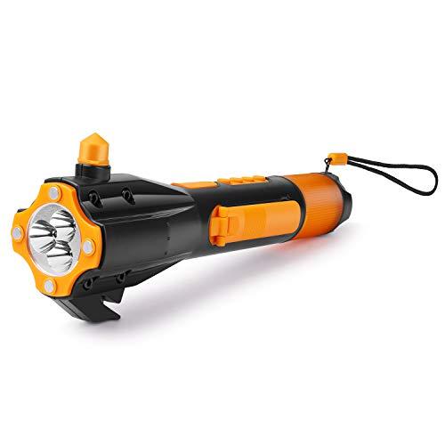 Flexzion Linterna LED de emergencia recargable con USB cargador, celular, disyuntor de ventana, cortador de cinturón de seguridad de automóvil, brújula y radio para auto, camping, senderismo y caza