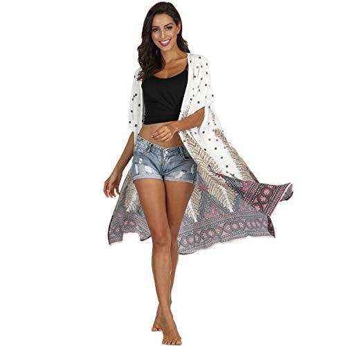 NCTCITY Gasa Chal Cárdigan Kimono Bohemia Mantón Floral Mujer Shawl Blusa Verano Chiffon Beach Cubrir Tops Blusa Manga Corta Vestidos de Playa para Vacaciones de Verano y Fiesta