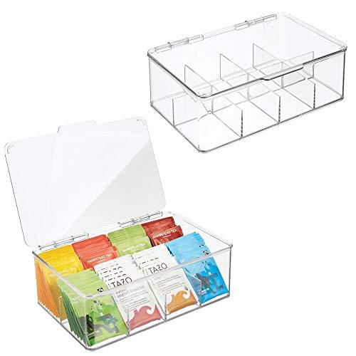 mDesign Teekiste (2er Pack) – die praktische, stapelbare Teebox zur Teebeutel Aufbewahrung – auch als Vorratsbox für die Küche