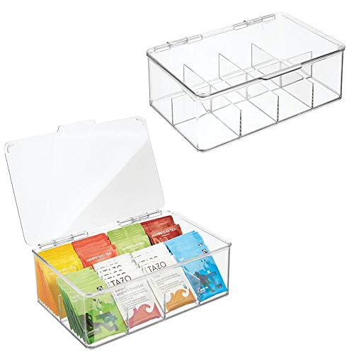 mDesign Stackable Plastic Tea Bag Holder Storage Bin Box for Kitchen Cabinets, Countertops, Pantry - Organizer Holds Beverage Bags, Cups, Pods, Packets, Condiment Accessories - 2 Pack - Clear