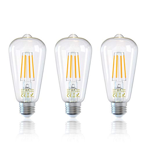 3Pack E27 Bombillas de Filamento LED ST64 4W Edison Retro Vintage Bombilla Filamento LED, Equivalente a 40W, 470 lúmenes, luz Blanca Cálida 2500K, No Regulable[Clase de Eficiencia Energética A++]