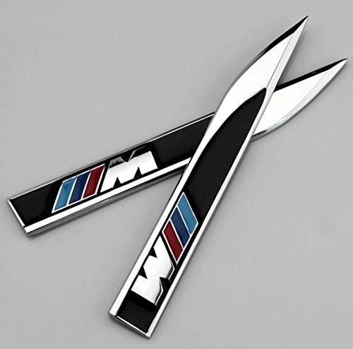 2stk Metall BMW M Auto Fenders Schutzblech Schriftzug Aufkleber Emblem Embleme Klinge Messerspitze 3D Plakette Sports Car Metal Decal Sticker Badge