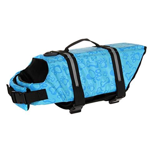 YOUJIAA Rettungswesten Hundeschwimmweste Sicherheit Badeanzug Schwimmweste für Hunde kleine Tiere mit Griff und Reflektoren (Blau Knochenmuster,M)