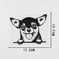 カーステッカー 17.2CMX13.9CM車のステッカーチワワチラッと覗く犬ビニールデカールブラック/シルバー カーステッカー (Color Name : Black)